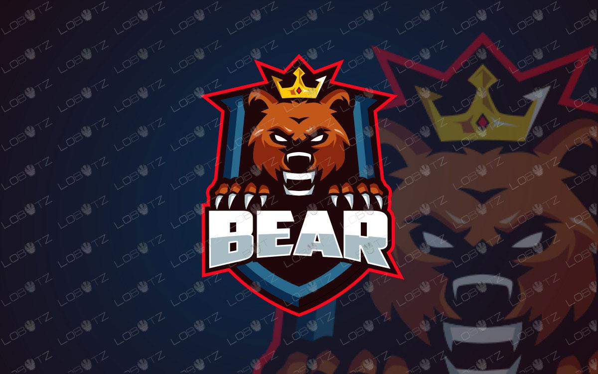 King Bear Mascot Logo For Sale Readymade Bear eSports Logo