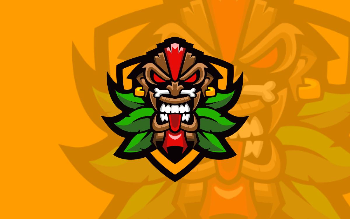 Tiki Mask Mascot Logo For Sale | Tiki Mask eSports Logo