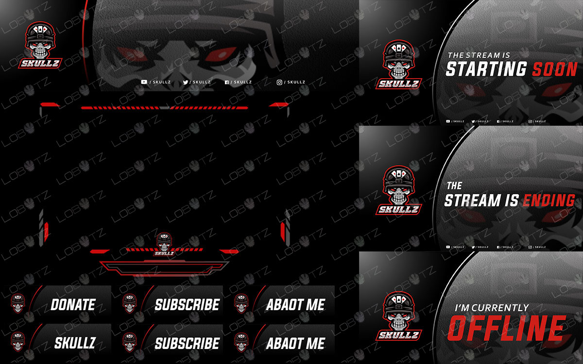 skull soldier twitch overlay package with premade skull mascot logo