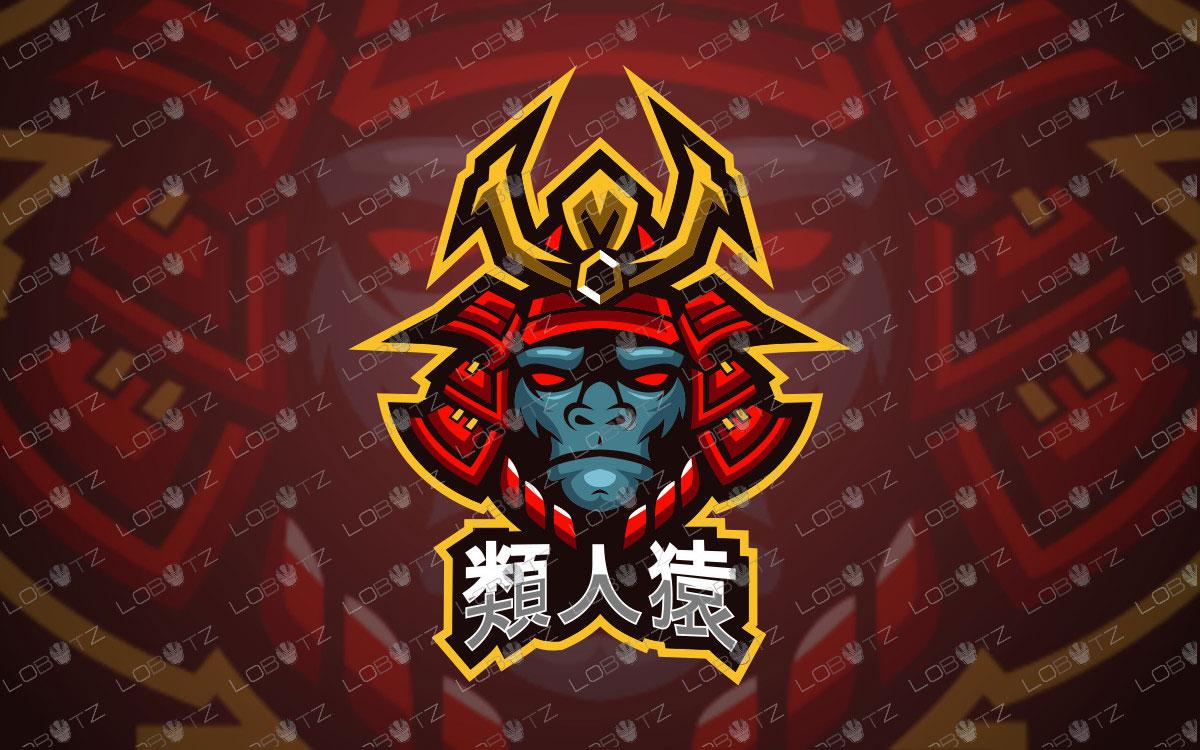 Ape Samurai Mascot Logo | Ape Samurai eSports Logo For Sale