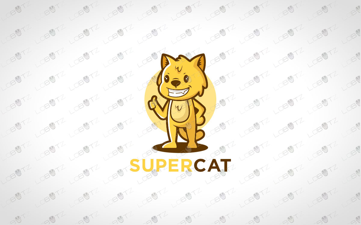 Premade Modern Happy Cat Logo For Sale