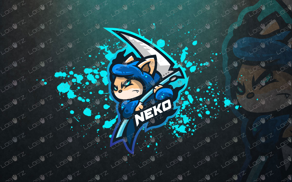 Cat Mascot Logo To Buy Online | Neko Mascot Logo For Sale Reaper