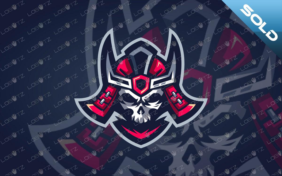 Samurai Mascot Logo For Sale | Skull Shogun Mascot Logo