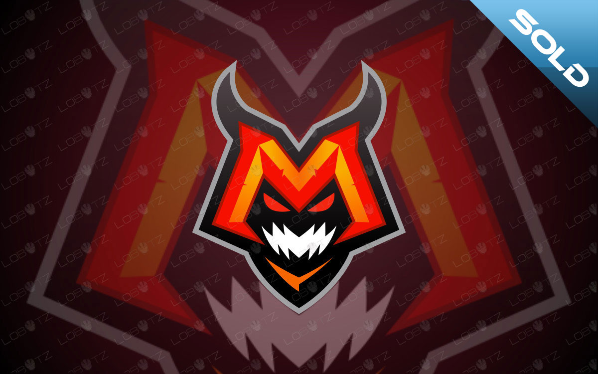 Letter M Monster Mascot Logo For Sale