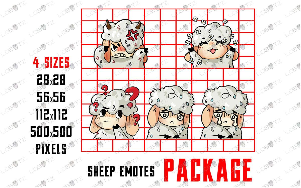 Cute Sheep Emotes | Cute Sheep Sub Badges For Twitch & Stream
