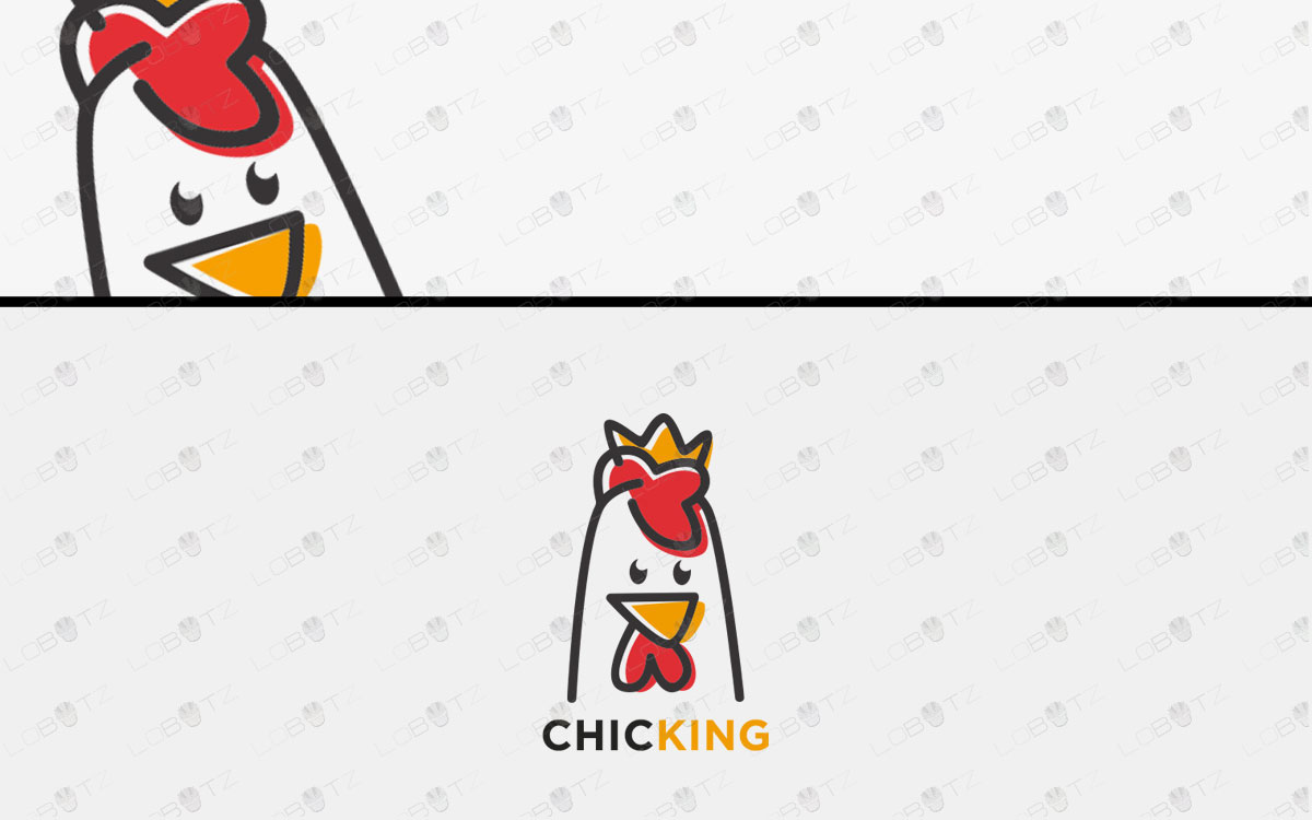 Modern & Fun Restaurant Chicken Logo For Sale