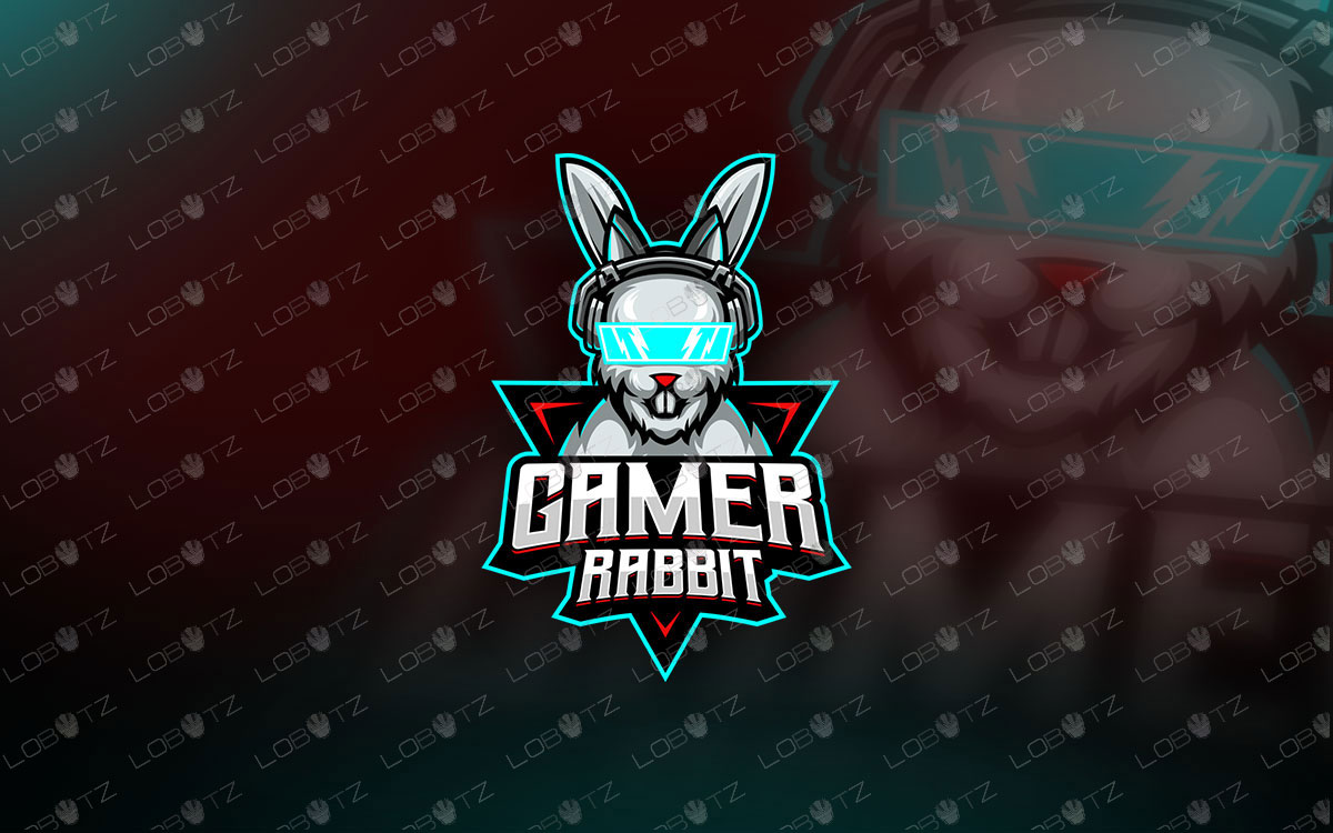 Gamer Rabbit Mascot Logo Gamer Rabbit eSports Logo For Sale