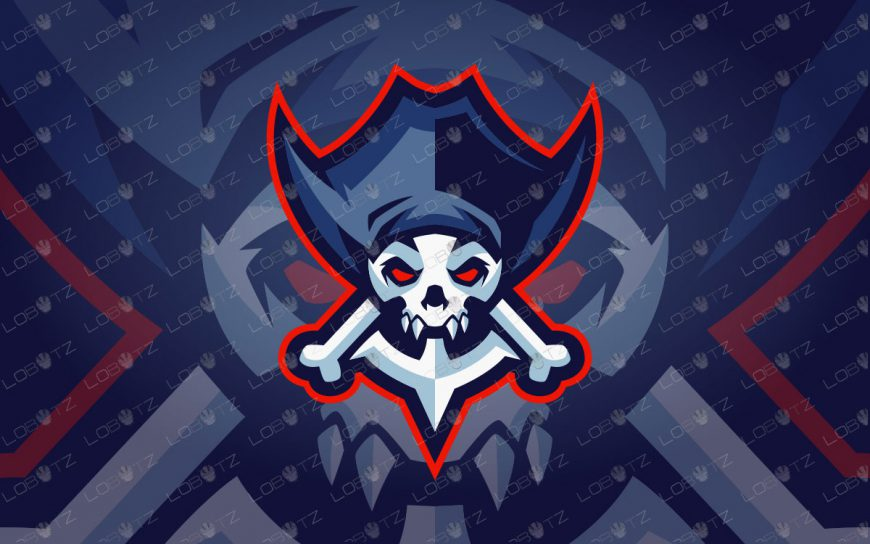 Pirate Skull Mascot Logo For Sale | Skull Pirate Mascot Logo