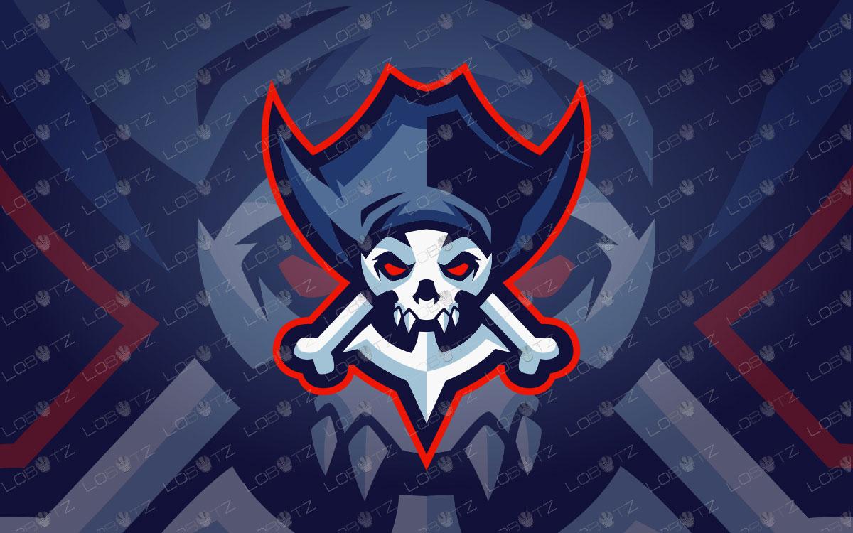 Pirate Skull Mascot Logo For Sale | Skull Pirate Mascot Logo