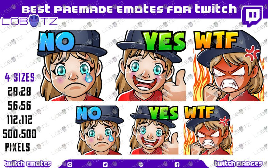 Gamer Girl Emotes / Girl Gamer Sub Badges For Twitch & Stream Premade Twitch Emotes