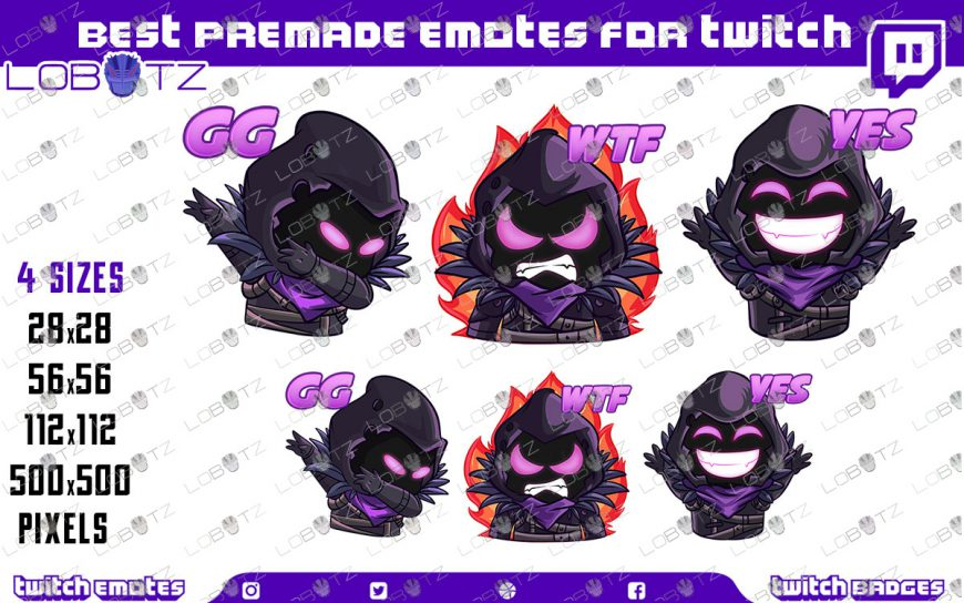 Premade Twitch Emotes Raven Emotes / Reaper Sub Badges For Twitch & Stream