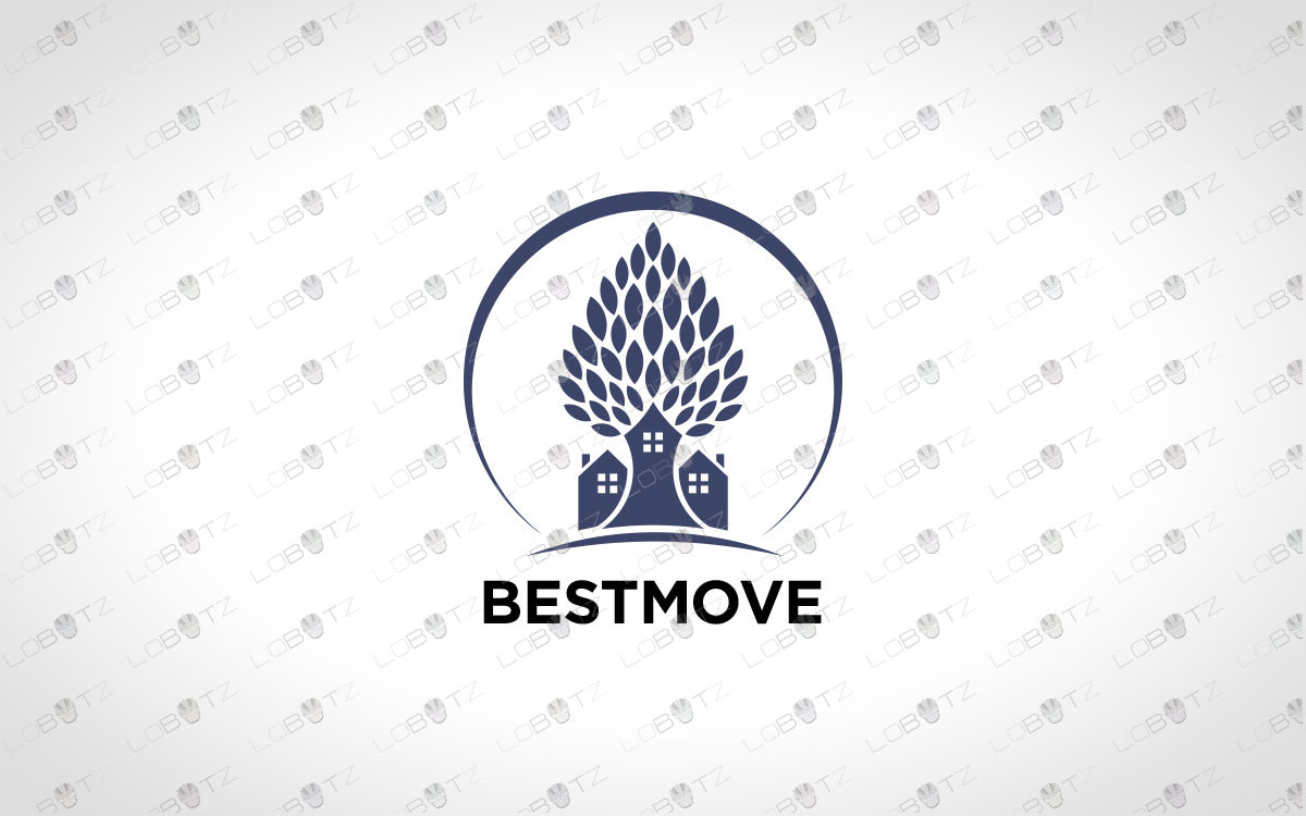 Modern Premade House Tree Logo For Sale