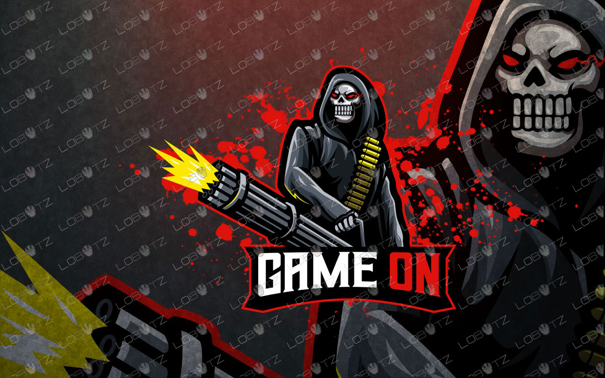 Grim Reaper Mascot Logo | Reaper eSport Logo For Sale Machine Gun Reaper Mascot Logo