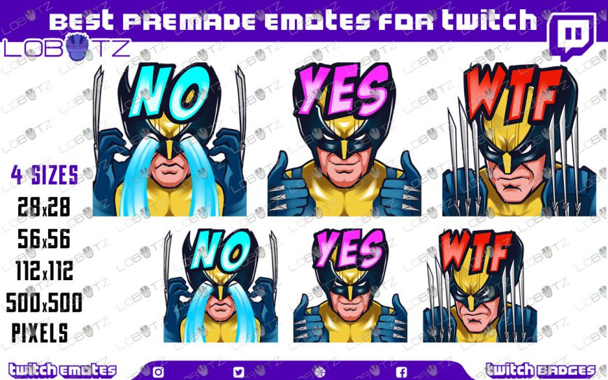 wolverine emotes Wolverine Twitch Emotes / Wolverine Sub Badges For Twitch & Stream