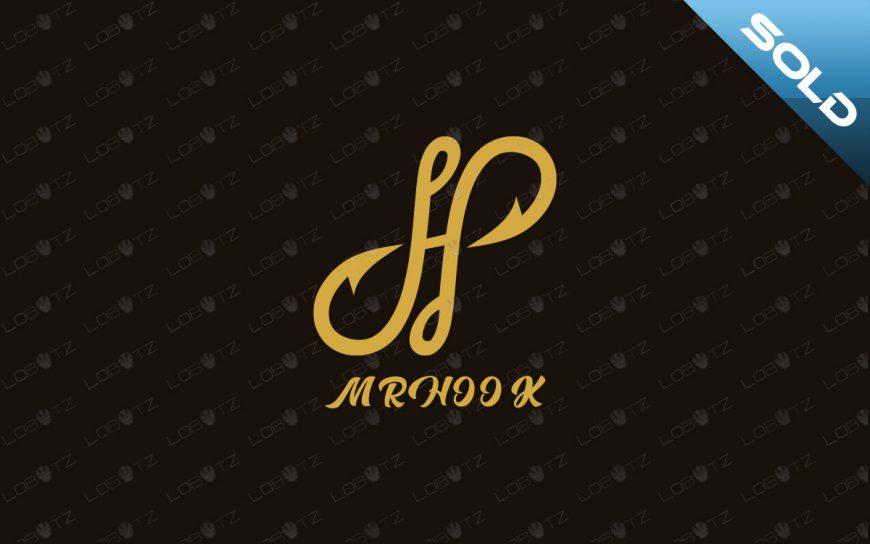 letter H logo for sale hook logo fishing logo