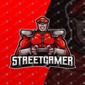 Street Fighter Mascot Logo | Bison Gamer Mascot Logo For Sale