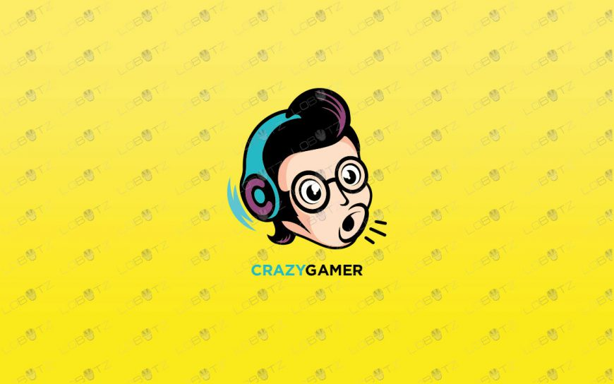Crazy Gamer Logo For Sale | Premade Gaming Logos