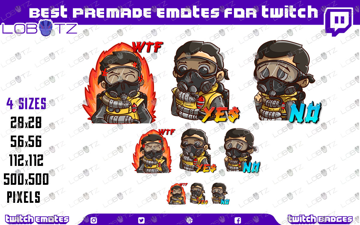 Apex Legends Caustic Emotes   Premade Twitch Emotes Caustic