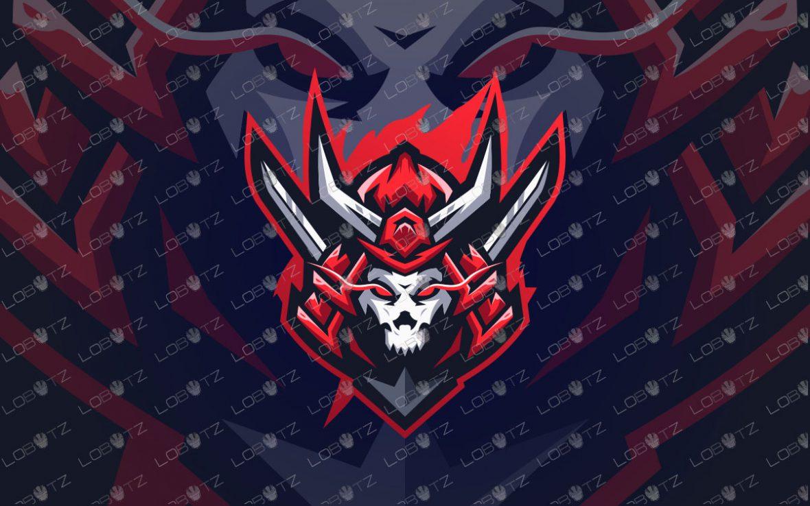 Samurai Mascot Logo For Sale   Skull Shogun Mascot Logo