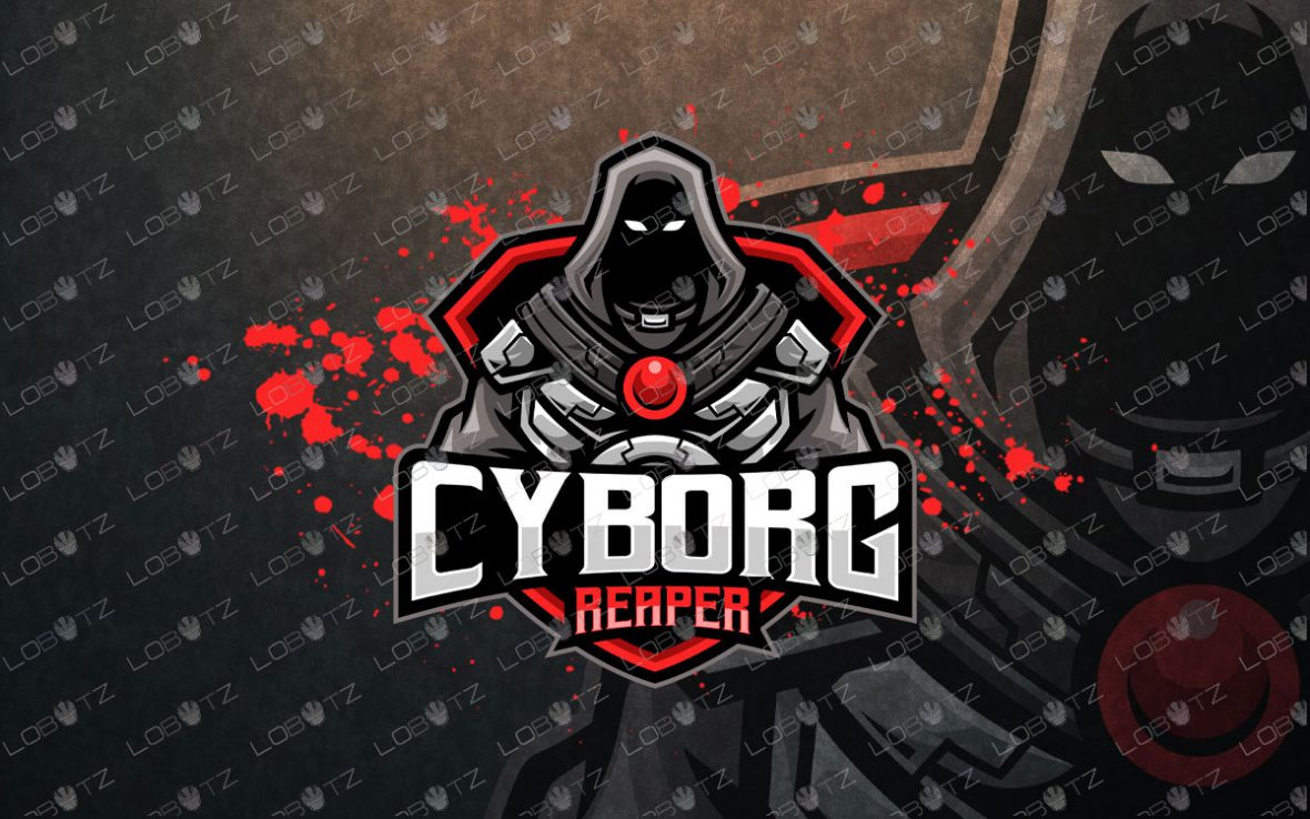 Grim Reaper Mascot Logo   Reaper Cyborg Mascot Logo For Sale