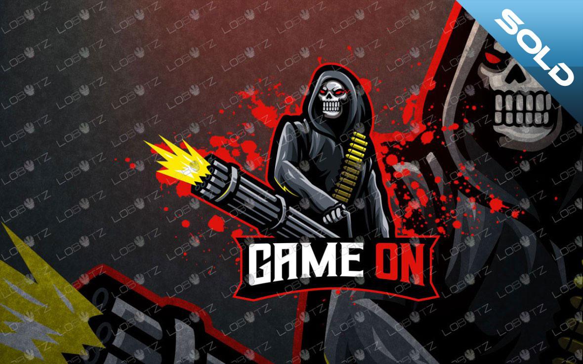 Grim Reaper Mascot Logo   Reaper eSport Logo For Sale Machine Gun Reaper Mascot Logo