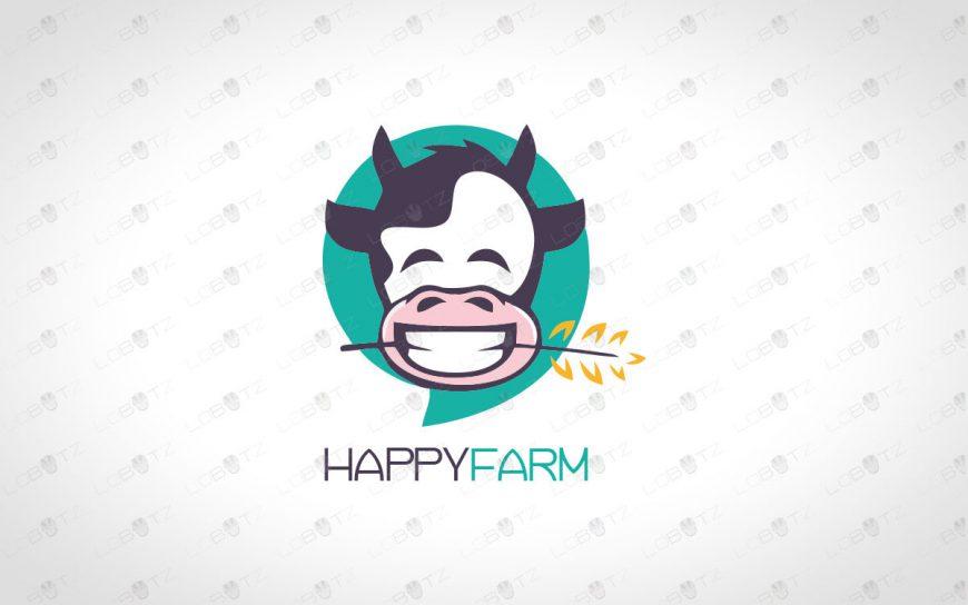 HappyFarm Logo For Sale Happy Cow Logo