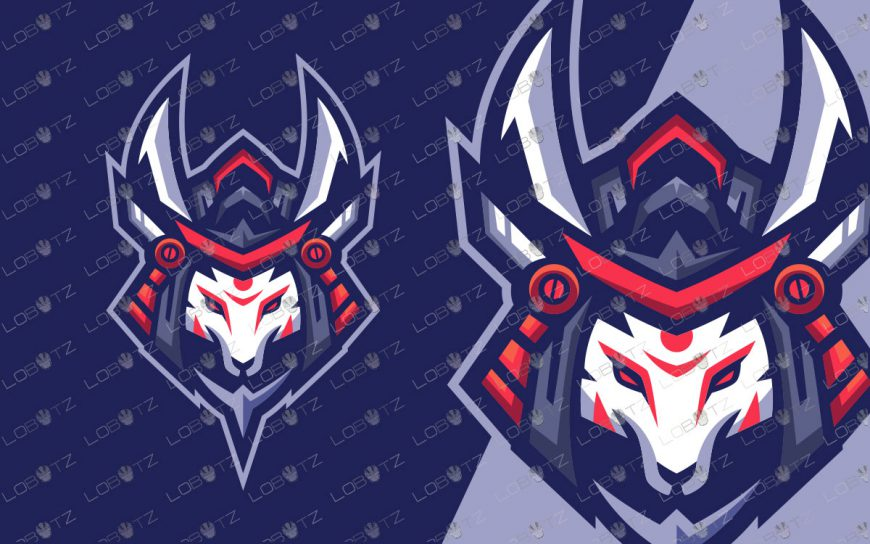 Kitsune Samurai Mascot Logo For Sale | Premade Fox Mascot Logo