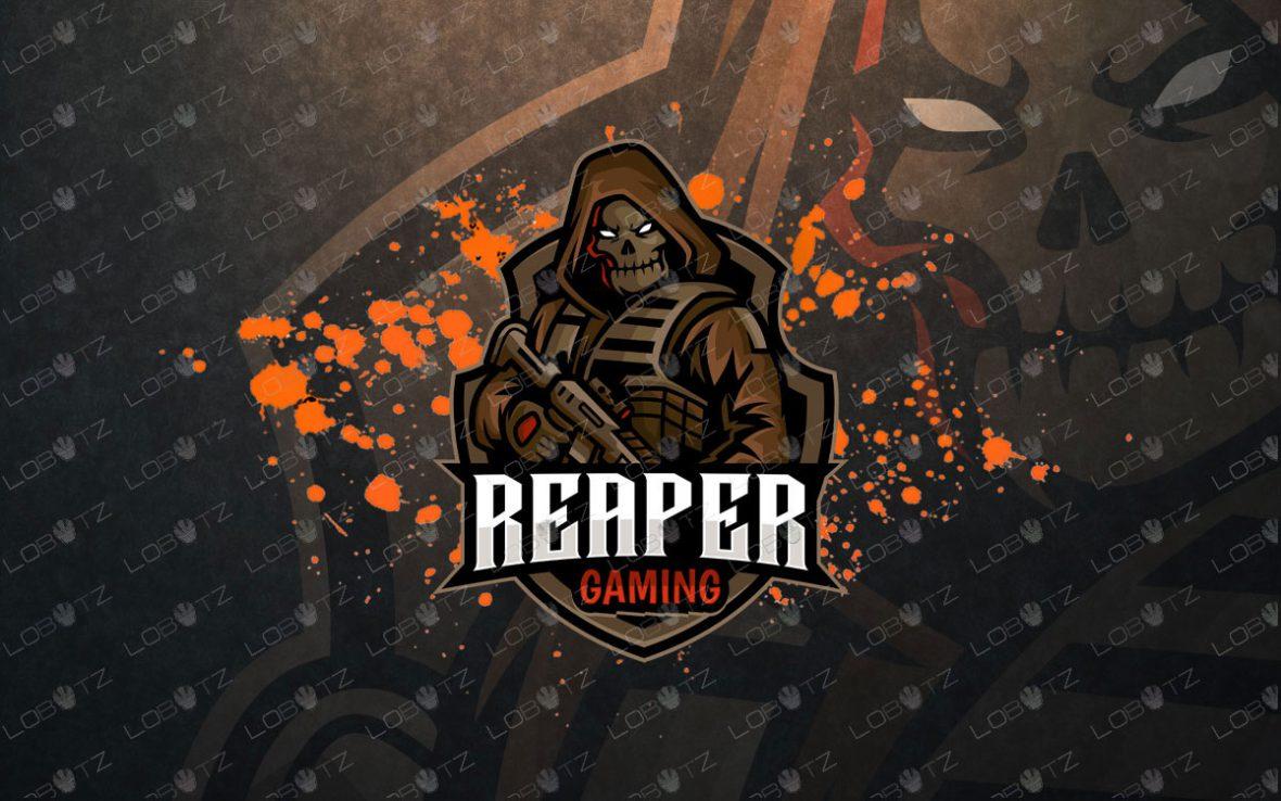 Grim Reaper With Gun Logo   Reaper Mascot Logo For Sale