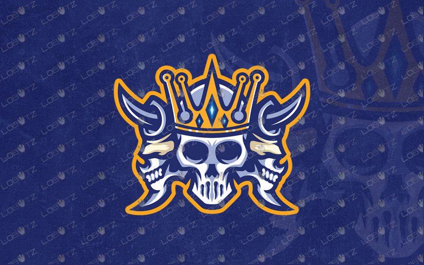 Skull King Mascot Logo For Sale | Skull Mascot Logo