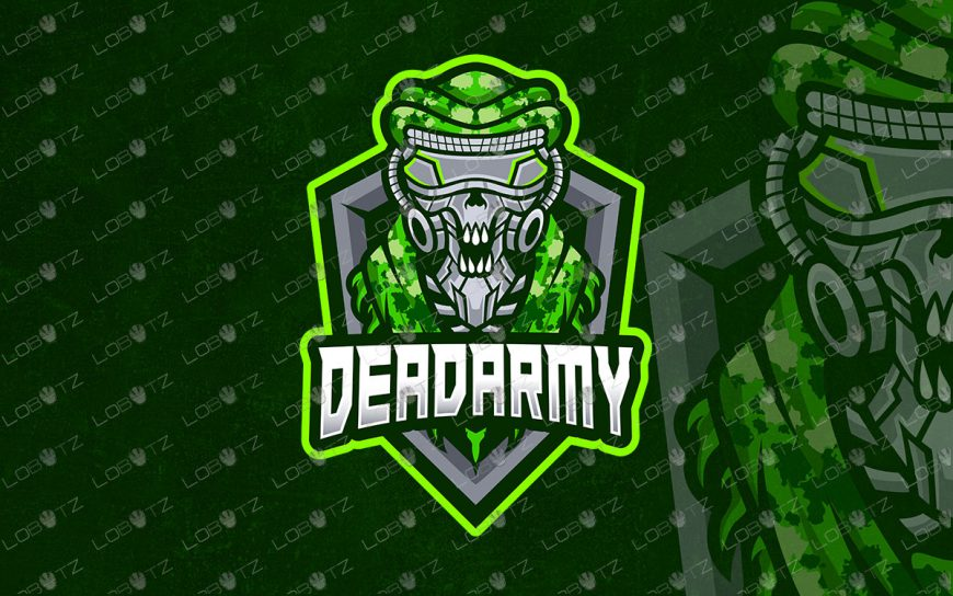 Premade Dead Army Skull Mascot Logo For Sale