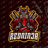 Premade Red Ninja Mascot Logo For Sale | Ninja ESports Logo
