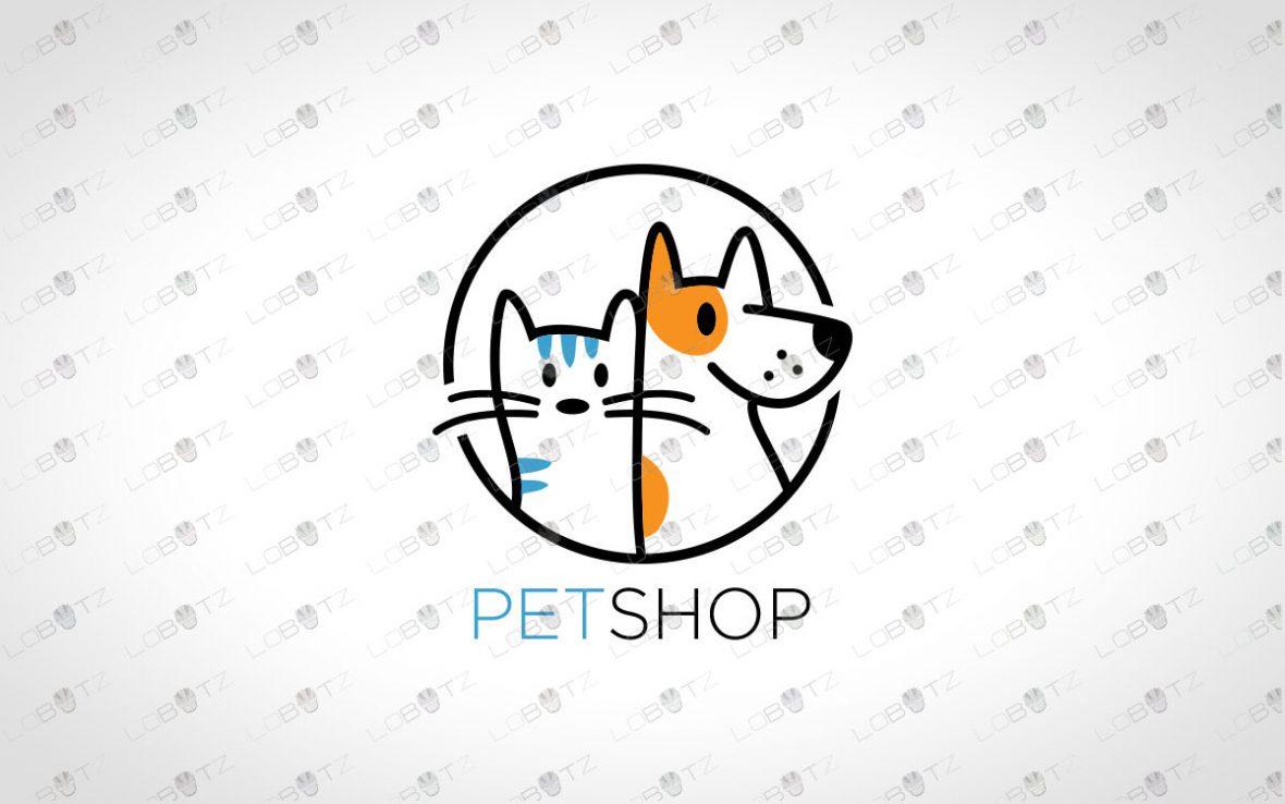Premade Pets Logo For Sale   Pet Logo cat logo dog logo