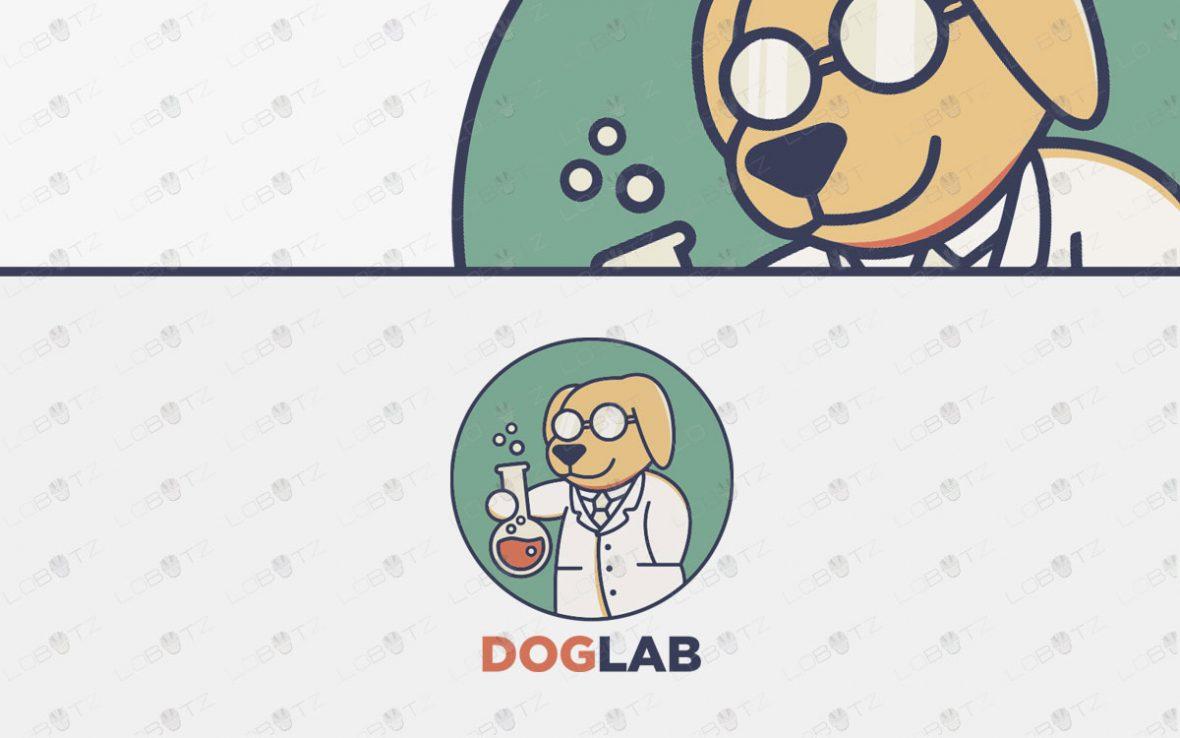 Premade Dog Logo For Sale | Scientist Dog Lab Laboratory